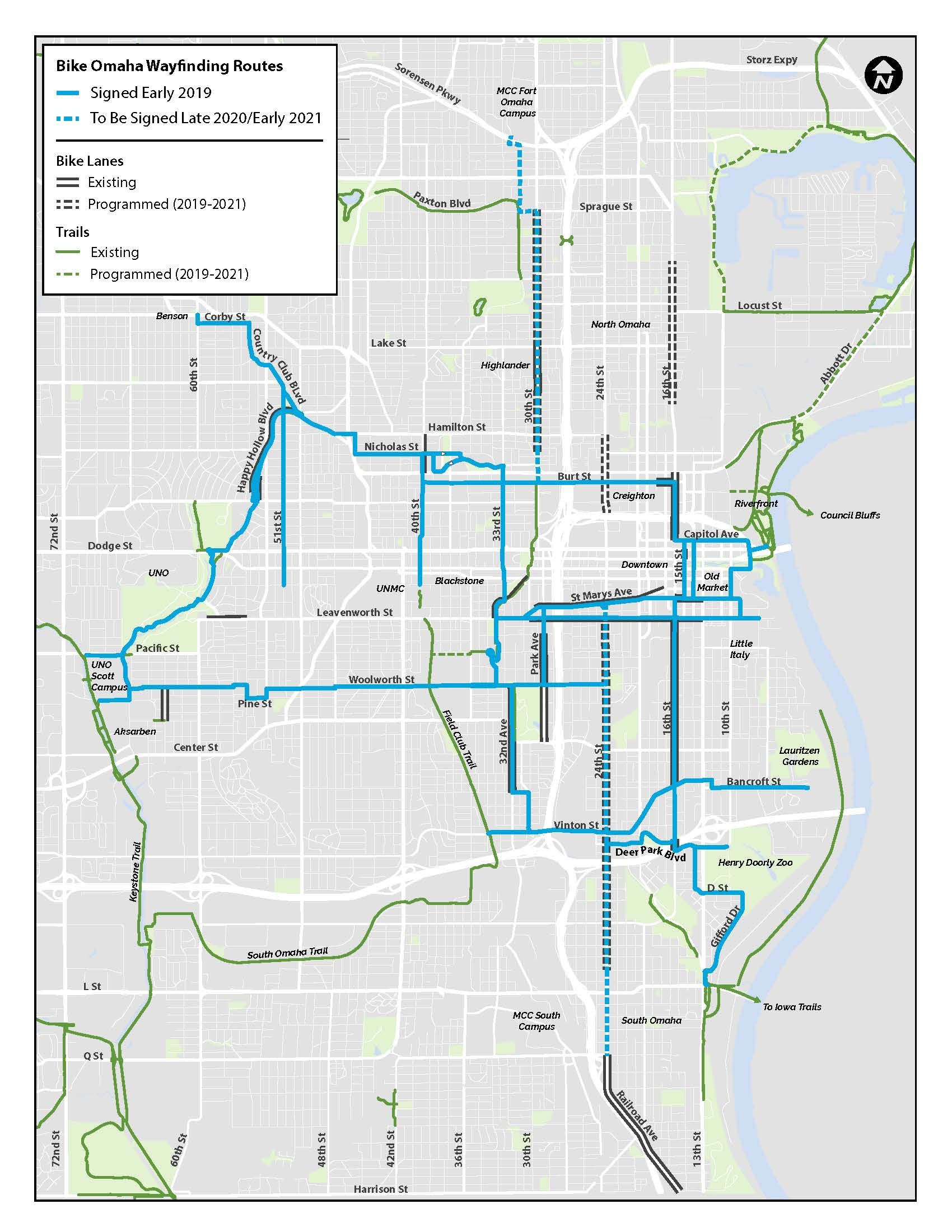 Bike Omaha Wayfinding Routes Map reduced